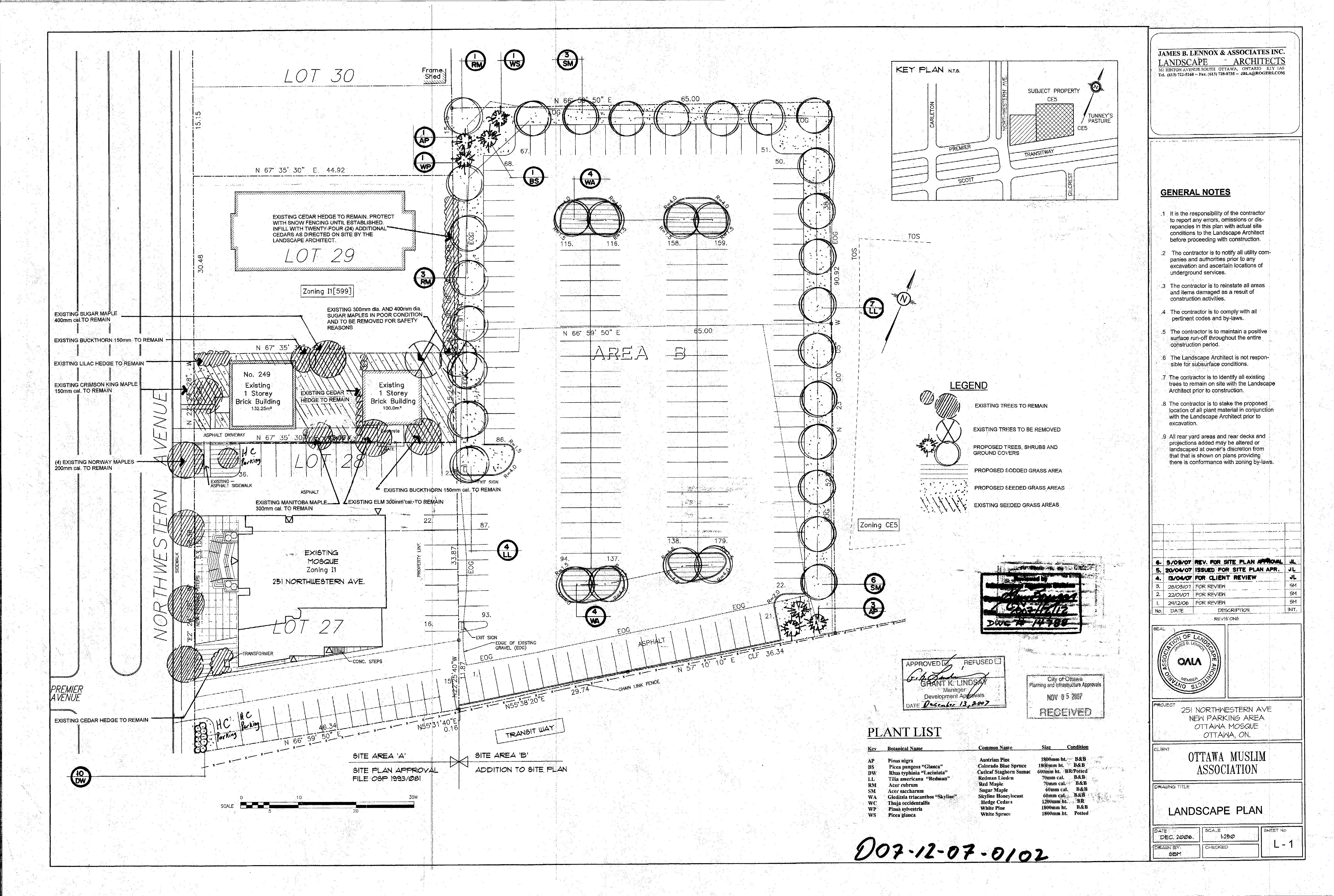 Parking space champlain park community for Site plan with landscape