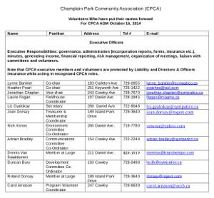 20141014 Champlain Park Organization Chart