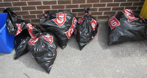 20150425_120050_AS_3016 Some of the garbage bags, each is a block or two of garbage