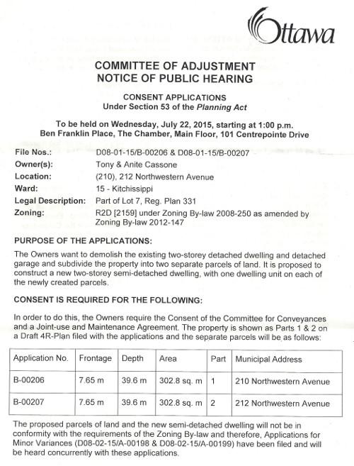 COA Notice 212 (210) NW 1507080001
