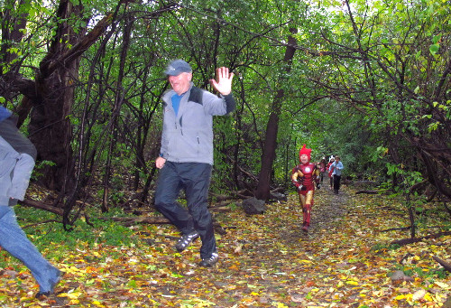 Fun Runners Dashing through the Woods