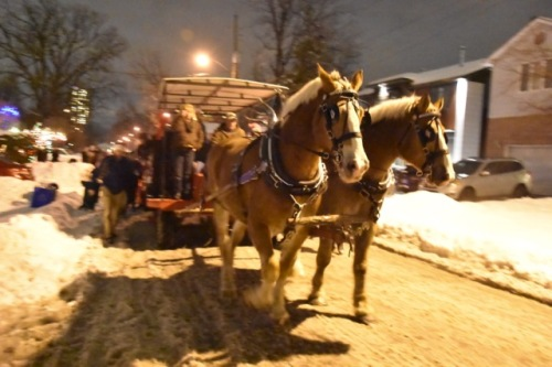 Horse-drawn sleigh full of carollers.