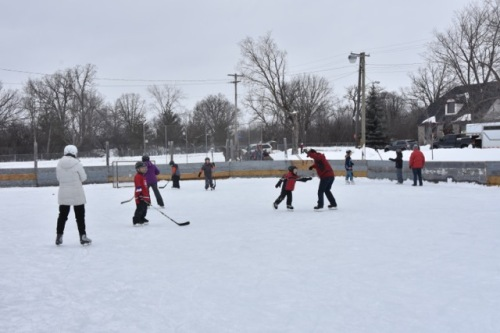 Fun and games on the outdoor rink managed by Jim Kot.