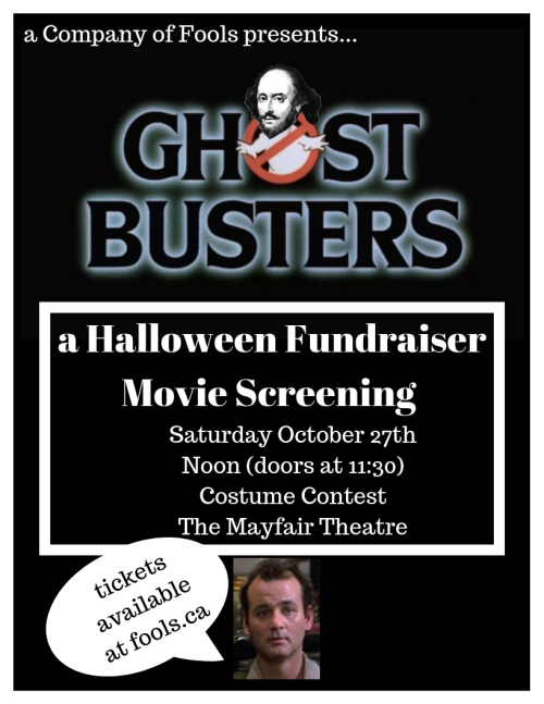[A Company of Fools poster for their Ghostbusters fundraiser on October 27 2018]