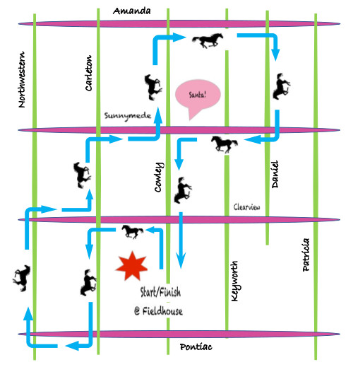 [Grid of Neighbourhood Streets with Horse Path Markings]