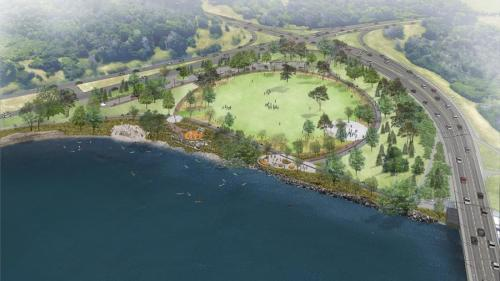[Aerial View of the Proposed Champlain Bridge Park]