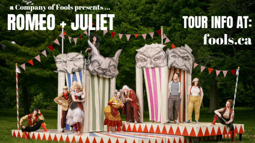 [Promotional Poster showing an outdoor temporary Stage with Fools]