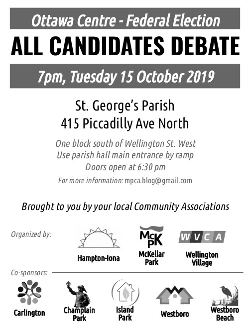 [Poster saying: All Candidates Debate, 7 pm Tuesday 15 October 2019, St. George's Parish, 415 Piccadilly Ave North, use parish hall main entrance, doors open 6:30 pm]