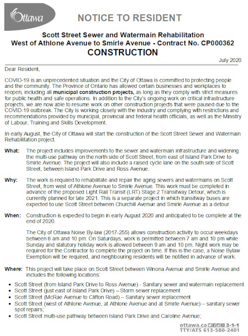 [First Page of Construction Notice]