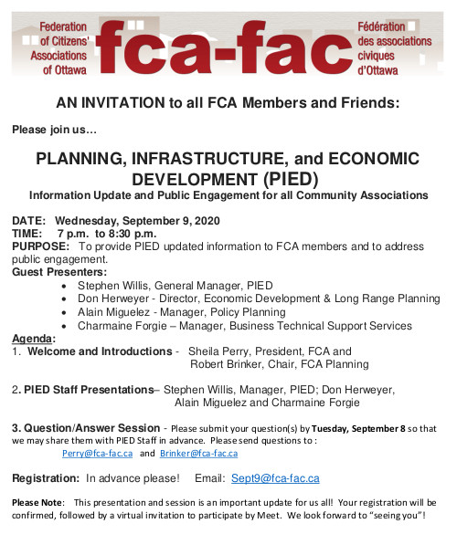 [FCA Poster inviting people to PIED - Planning, Infrastructure, and Economic Development]
