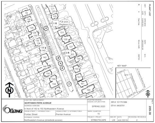 [Map of Northwestern Road, Buildings, Trees]