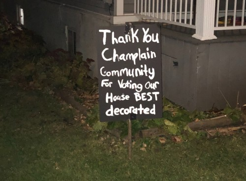 [Post Halloween sign thanking the community]