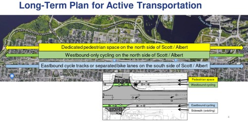 [Long Term Plan Map - One Way Cycling on the Multiuse Path beside the Transitway]