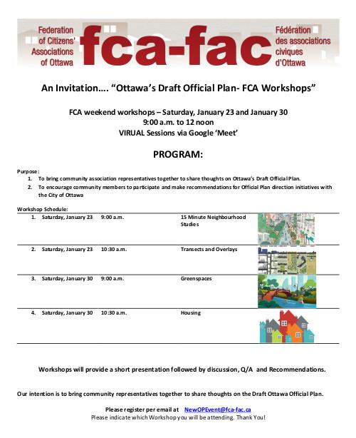 [Ottawa Draft Official Plan FCA Workshop Invitation]
