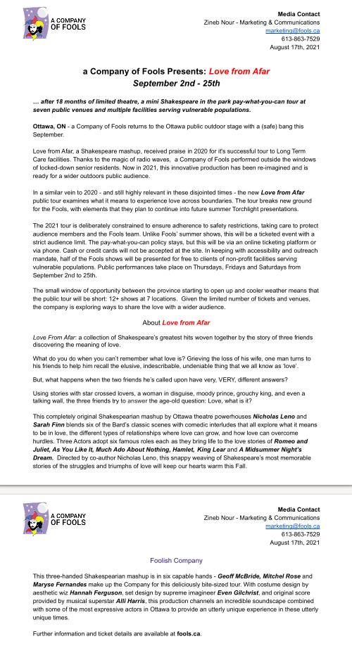 [Press Release for Fools' Love from Afar including COVID story]