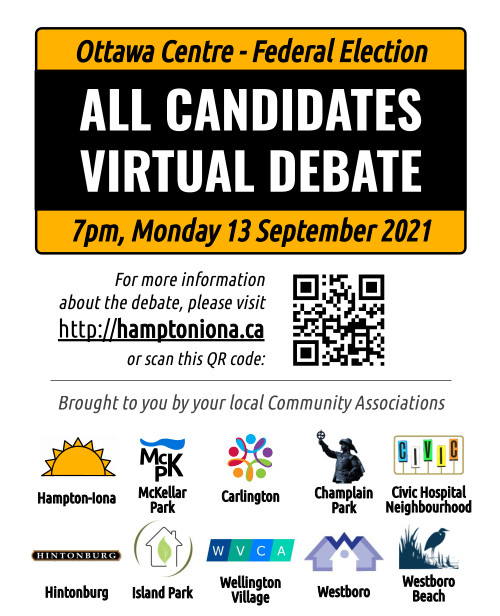 [Poster for the All Candiates Debate, with a QR code too]